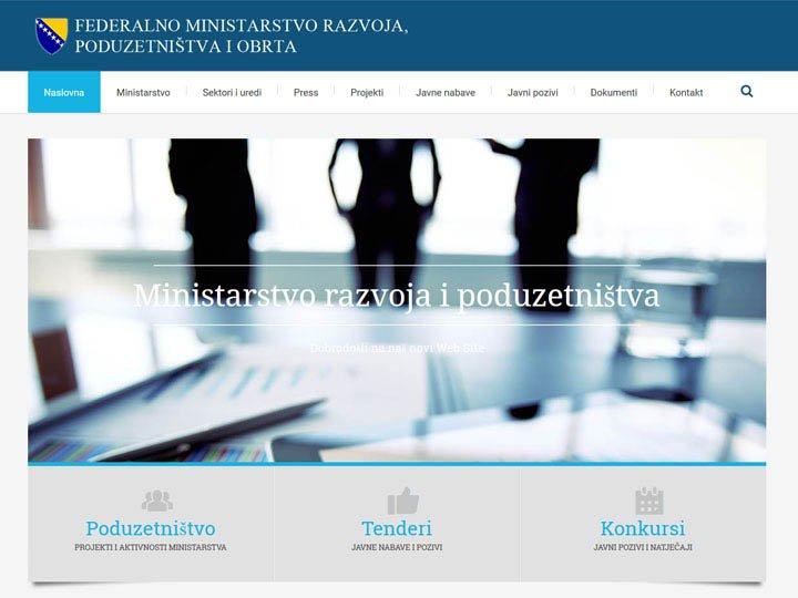 federalno ministarstvo razvoja poduzetnistva i obrta izrada web stranice